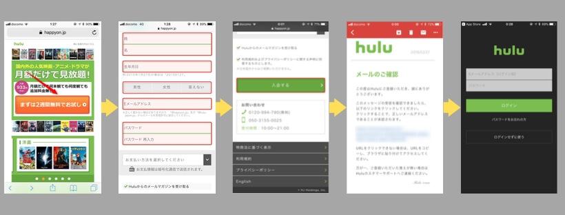 Hulu会員登録手順